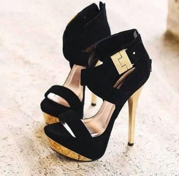 shoes black noire chaussures talons hauts chaussures ? lacets escarpins dor? chaussures heels