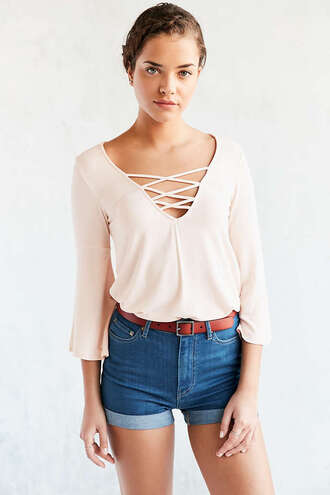 top lace up bell sleeves
