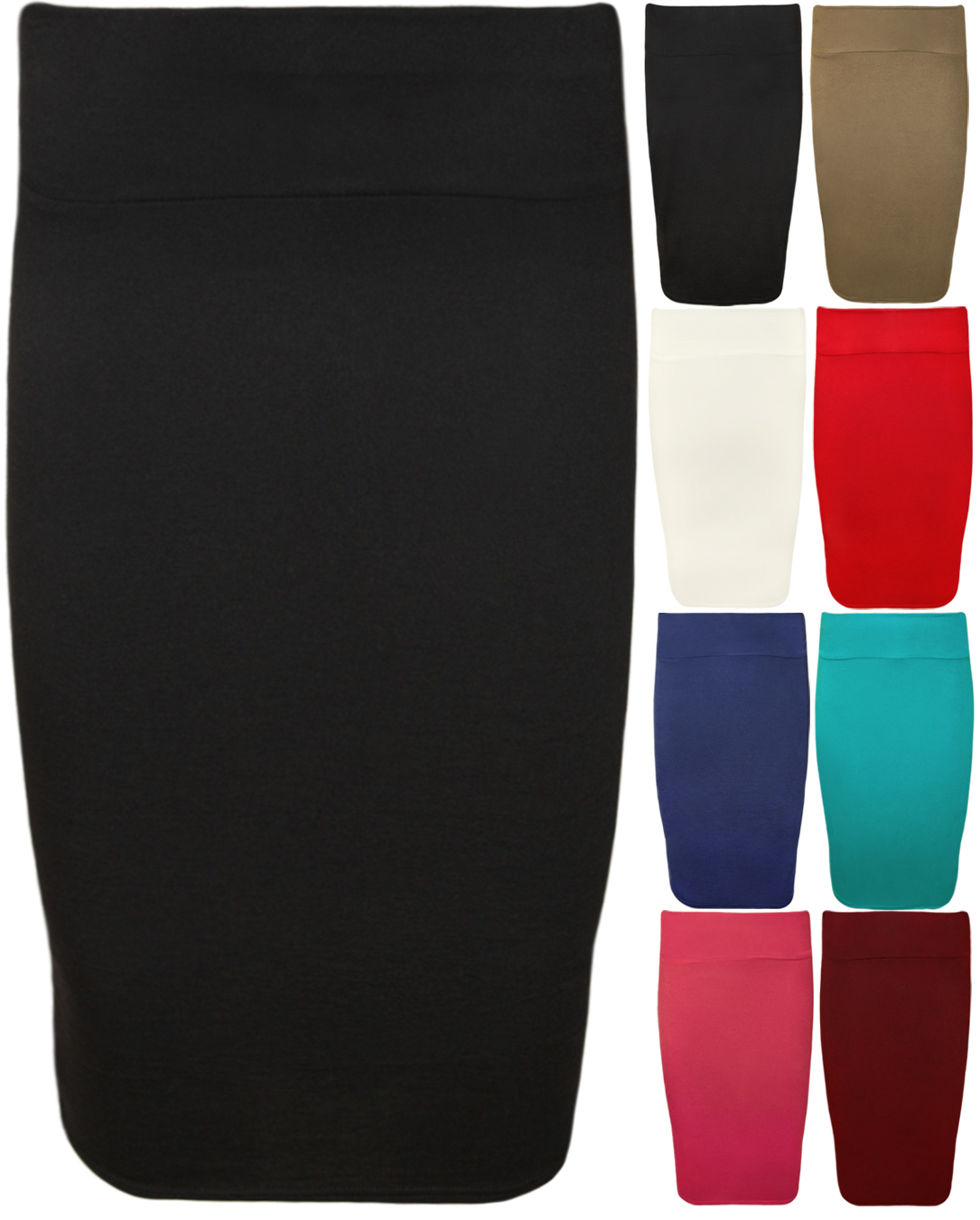 Womens Plain Bodycon Pencil High Waisted Ladies Stretch MIDI Skirt ...