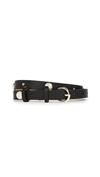 Kate Spade New York studs pearl belt leather black