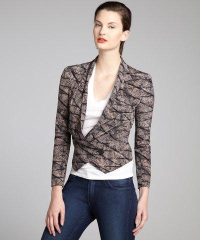Rebecca Minkoff ivory silk crepe 'Becky' point hem smoking jacket | BLUEFLY up to 70% off designer brands