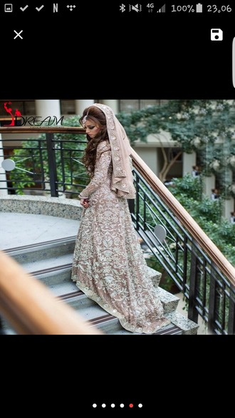 dress brown brown dress wedding dress pakistan nikah engagement party dress satin patterned dress arabic muslim muslimah muslim outfit muslim dress muslim wedding dresses
