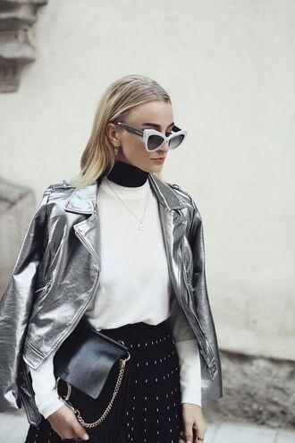 jacket tumblr metallic metallic jacket silver silver jacket top white top sunglasses cat eye white sunglasses skirt pleated black skirt bag black bag chloe ting chloe bag chloe faye bag
