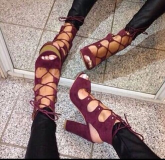 shoes heels lace up thick heel high heel sandals lace up heels burgundy shoes