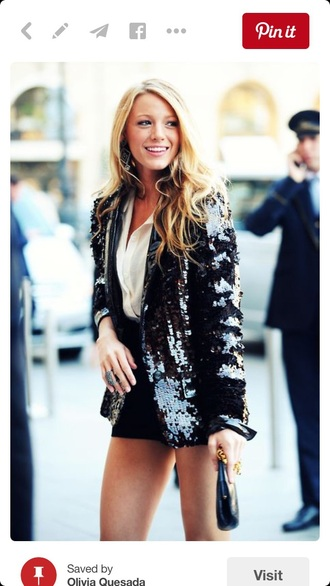 jacket blake lively black jacket sequin jacket