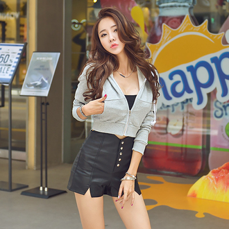 jacket korean fashion ulzzang curvy asian fashion xl xxl hoodie grey outerwear fall outfits sexy sexy jacket crop tops cropped sweater cropped hoodie cropped jacket zip up jacket
