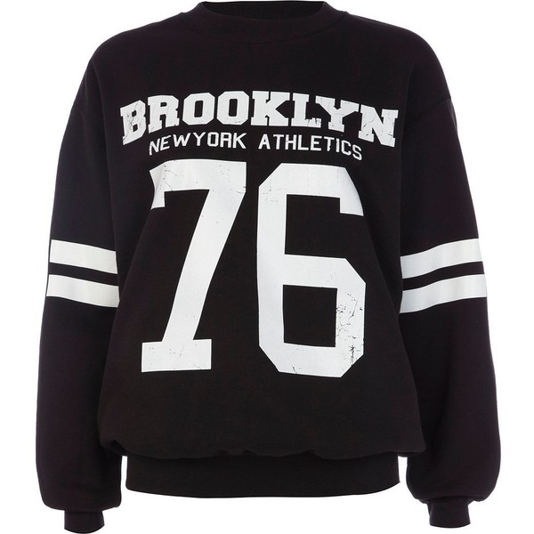 River Island Black Brooklyn athletic 76 print sweatshirt - Polyvore