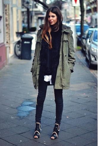 coat army green jacket green cute