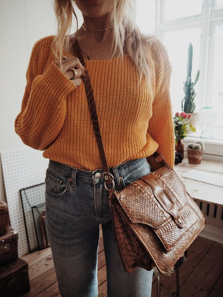 Sweater orange sweater brown bag gold necklace tumblr orange denim jeans blue jeans bag ...