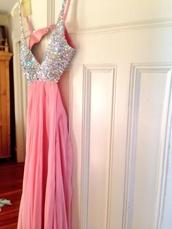 dress,cut-out dress,prom,prom dress,long prom dress,halter dress,baby pink,rhinestones,open back dresses,la femme,sherri hill,jovani