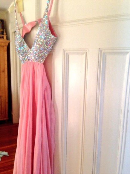 dress prom prom dress cut out dress long prom dress halter sexy dresses halter dress baby pink rhinestones open back dresses la femme sherri hill jovani