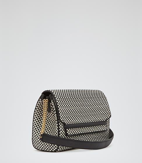Lara Weave Black/white Weave Handbag - REISS