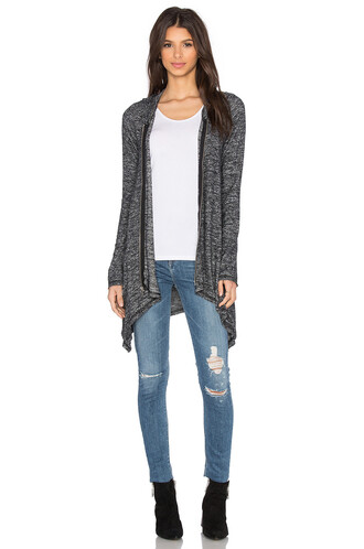hoodie zip draped charcoal