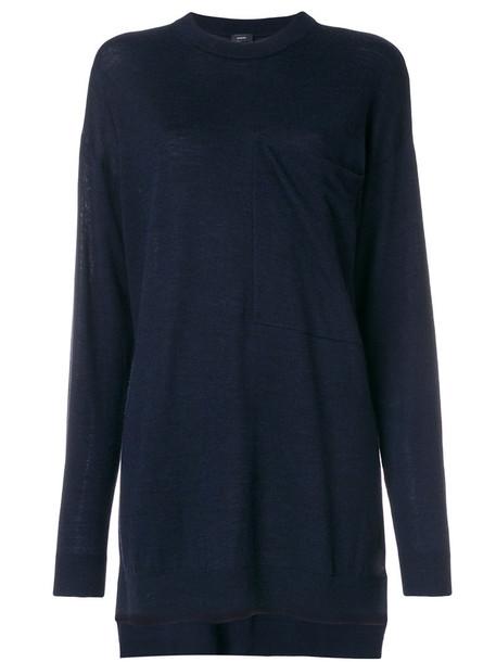 jumper oversized women blue knit sweater