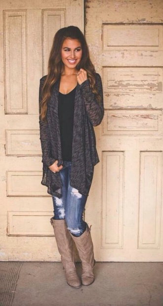 boots jeans cardigan black cardigan help ripped jeans casual grey cardigan