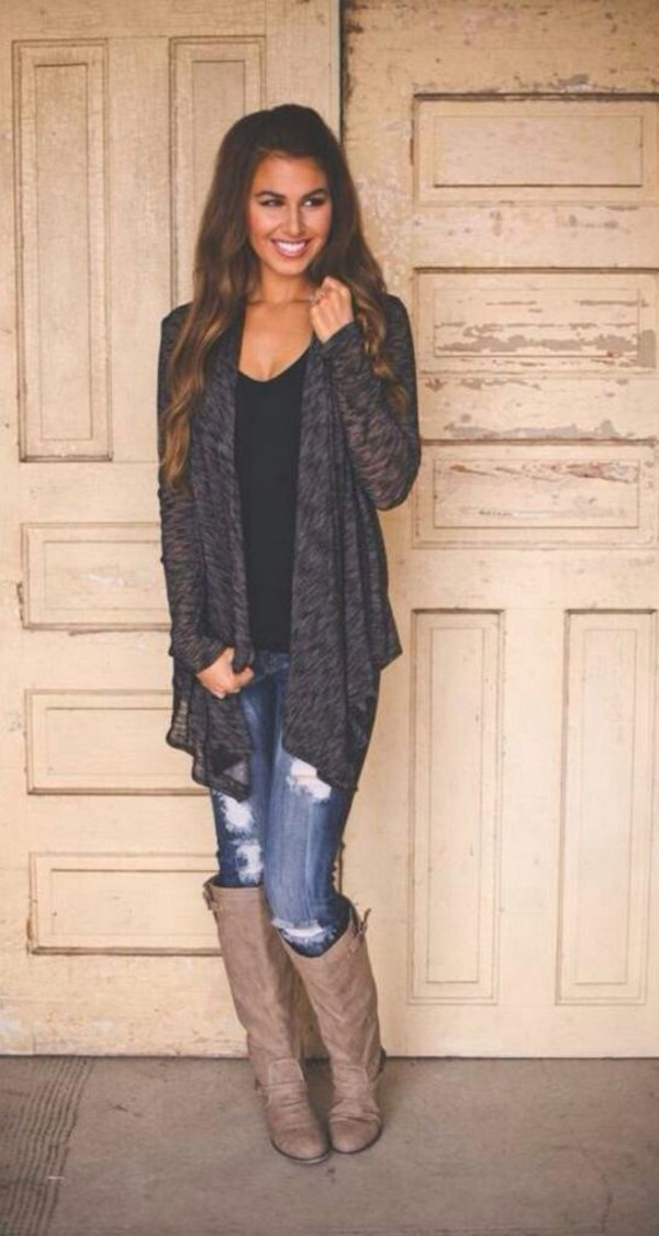 cardigan black cardigan jeans boots ripped jeans grey cardigan casual top style fashion flowy cute