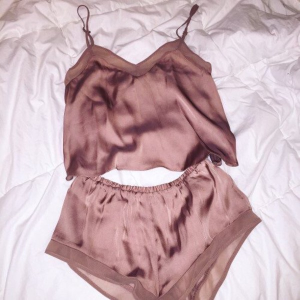 pajamas sleepwear cute pink silk rose gold top nude lingerie romper matching set underwear silky tan shorts nude top nude shorts silk pajamas silk sleepwear two piece shorts two-piece tank top shorts two-piece sexy lingerie sexy two-piece dusty pink silk nightwear