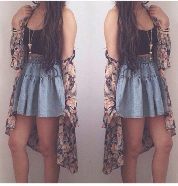 Skirt summer outfits denim skirt skater skirt outfit cardigan - Wheretoget