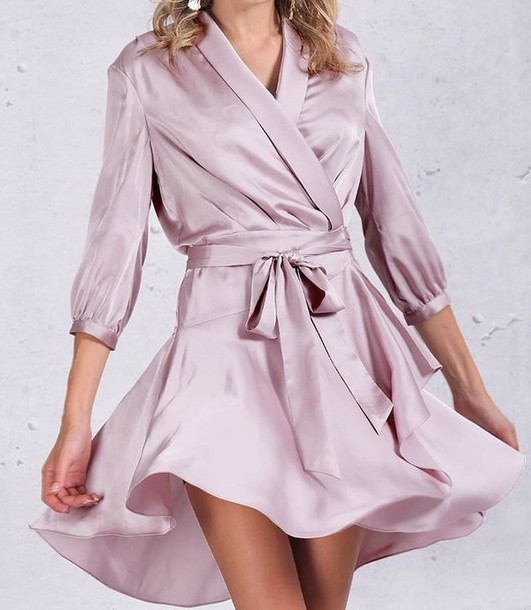 Pastel pink dress long sleeve