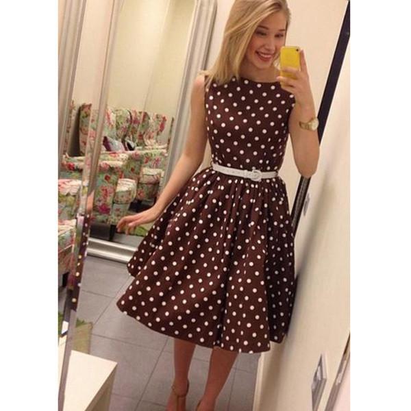 Skirt: fall  pleated skirt sleeveless polka dots polka dot ...