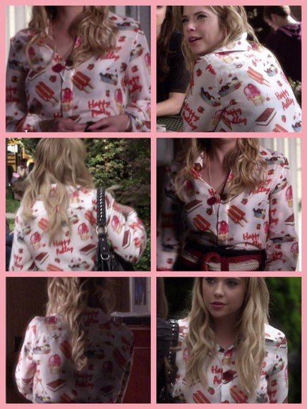 blouse white button up blouse hanna marin ice cream print tee ice cream pretty little liars strawberry cake red pink