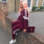 pants,adidas,velvet,burgundy