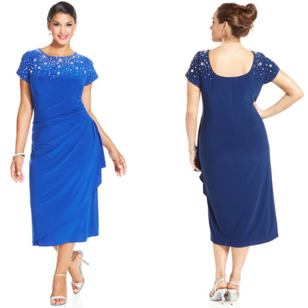 Dress Plus Size Dress Royal Blue Dress Short Sleeve Dress