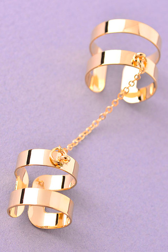 Lined Up Linked Knuckle Ring