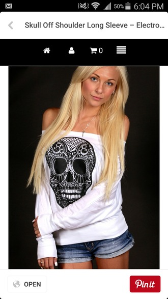 shirt white sweatshirt sugar skull black and white