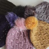 hat,fur pom pom hat,fur beanie,fur bobble pom pom wool hat,fur ball,sequin hat,glitter hat