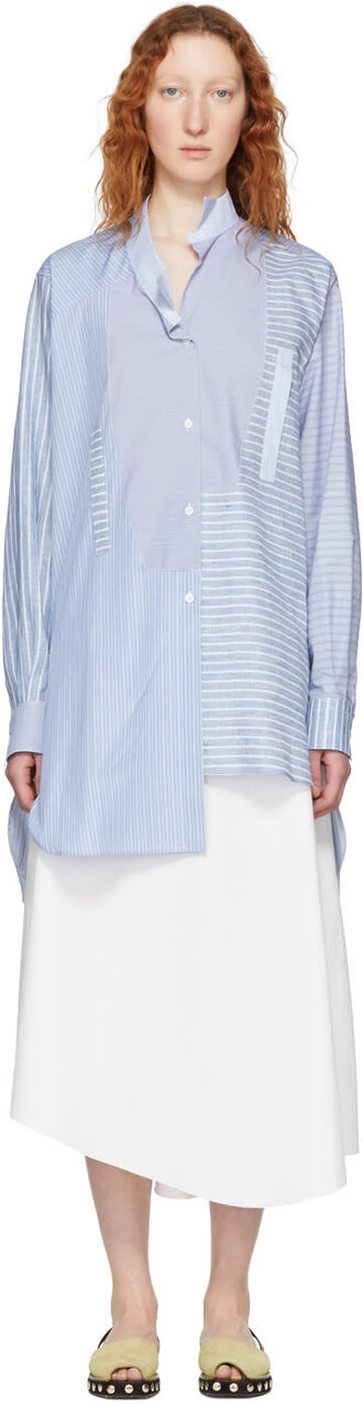 shirt asymmetric shirt blue top