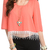 Coral Trendy Sheer Chiffon Keyhole Back Fringed Top