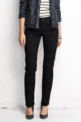 Women's Fit 2 Mid Rise Straight Leg Jeans - Black from Lands' End