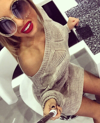 dress beige knitwear sweater sweater dress sexy outfit fall outfits outfit idea chic urban trendy fashionista fashion style fall sweater fall colors sunglasses