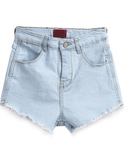 Masie light blue fringe denim shorts (2 colors available)