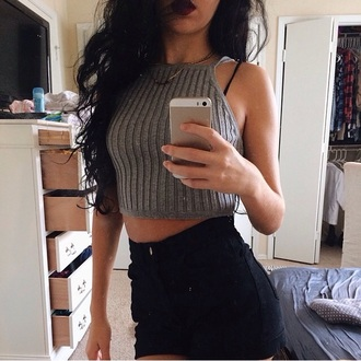shirt grey grey t-shirt crop tops