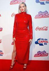dress,red dress,sequins,sequin dress,celebrity,slit dress,pumps,Anne Marie