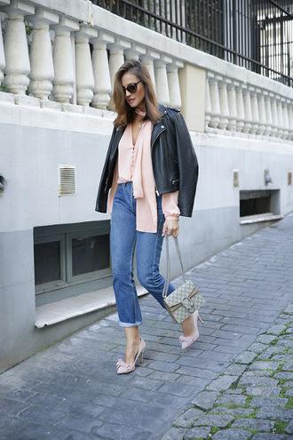 lady addict blogger blouse jeans jacket bag sunglasses shoes