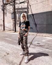 pants,military style,joggers,crop tops,sunglasses,handbag,white sneakers