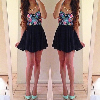 dress floral floral dress black mint green shoes mini dress cute dress summer dress spring dress flowers