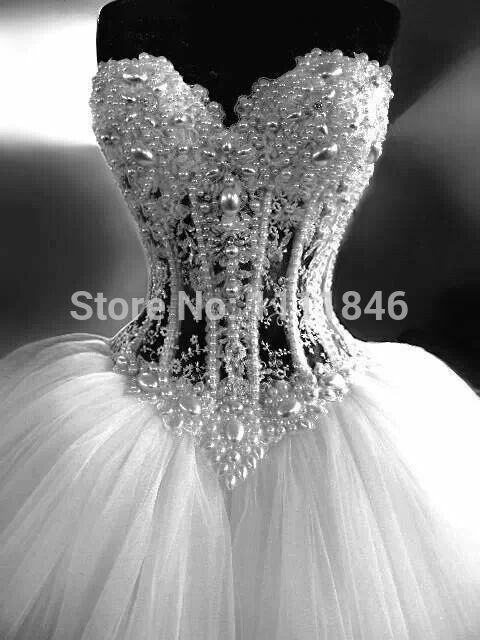 Luxurious Pearls Beading Romantic Wedding Dresses Sheer Corset Puffy ...