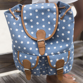 bag polka dots blue and white back pack amazinglace