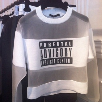 top parental advisory explicit content white top see through