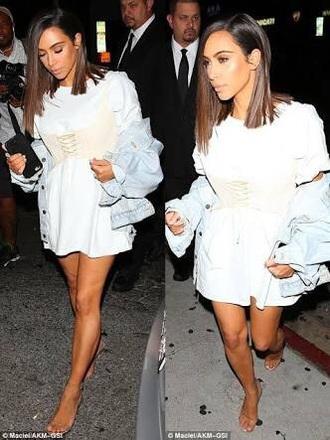 tank top cream kim kardashian corset corset top lingerie bustier underbust underbust corset tops lace dress lace lace up beige waist cincher waist belt waist trainer