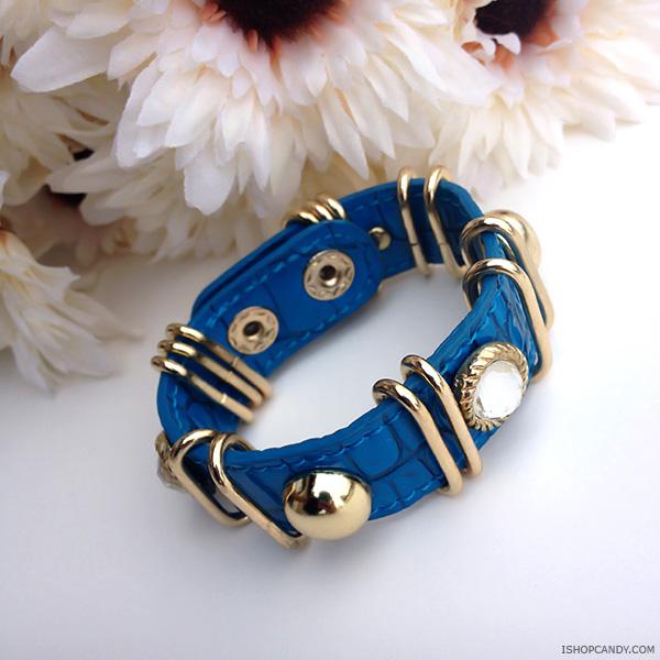 Blue Faux Leather Bracelet