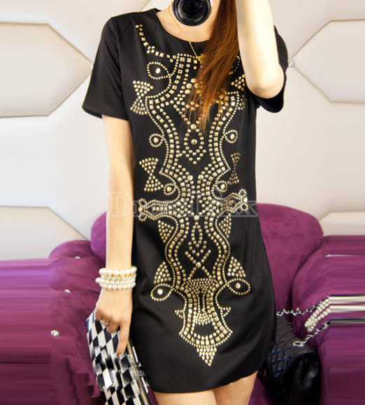 rivet black dress sequin dress sequins totem dress totem