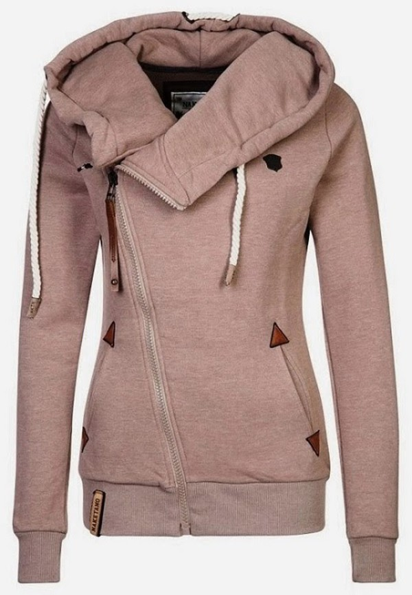 jacket hoodie camel warm women stylish naketano coat pink side zip side zip hoodie