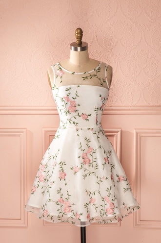 dress floral white vintage style chic floral dress