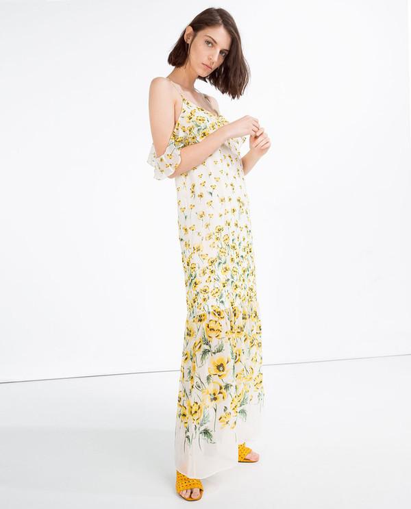 dress white dress maxi dress long dress off the shoulder dress off the shoulder floral yellow floral