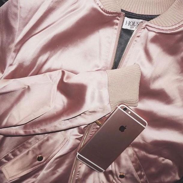 Jacket Pink Jacket Urban Pastel Pink Satin All Pink